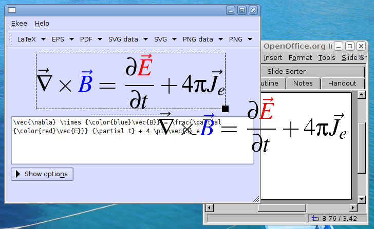Ekee: LaTeX equation editor